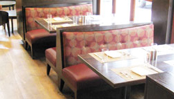 Restaurant Booths with Red Upholstery
